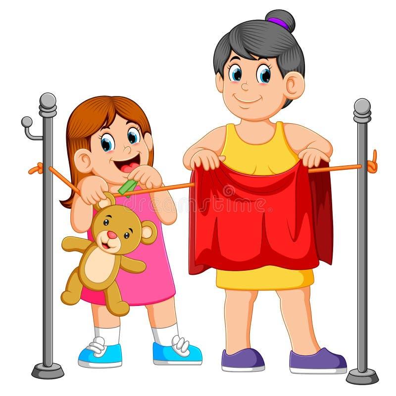 女孩帮助的吊洗衣店她的母亲 库存例证