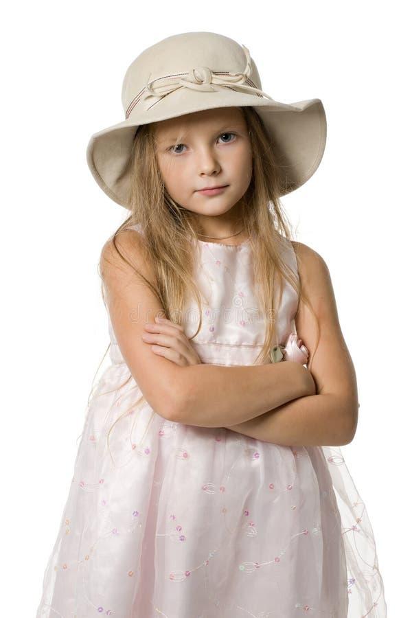 女孩帽子一点 库存图片