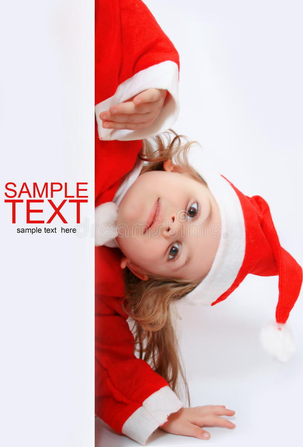 女孩帽子少许s圣诞老人 图库摄影