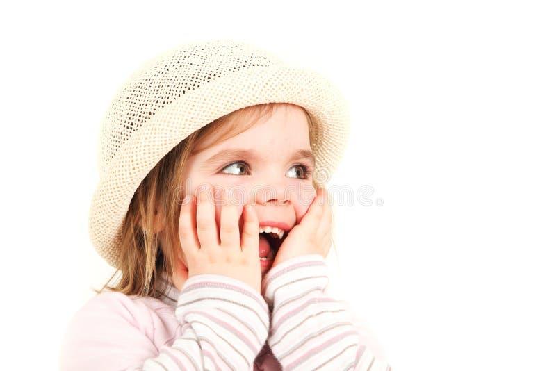 女孩帽子微笑的一点 免版税图库摄影