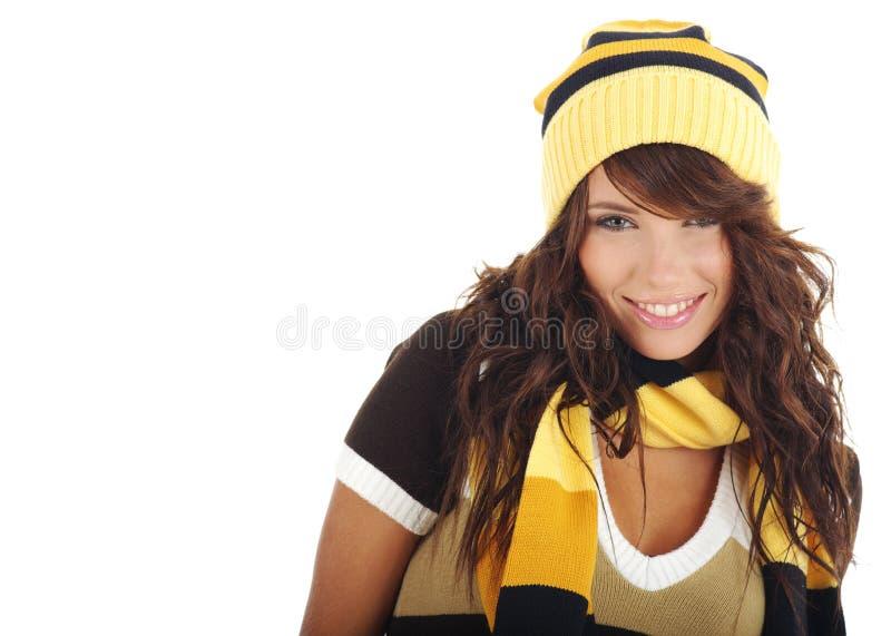 女孩帽子性感的佩带的冬天 免版税库存图片
