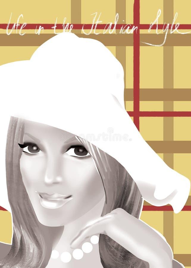 女孩帽子白色 皇族释放例证