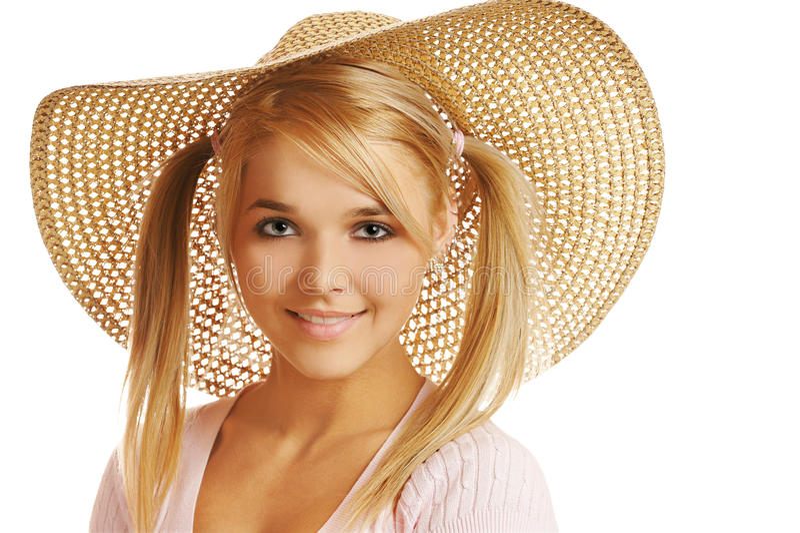 女孩帽子秸杆 库存图片