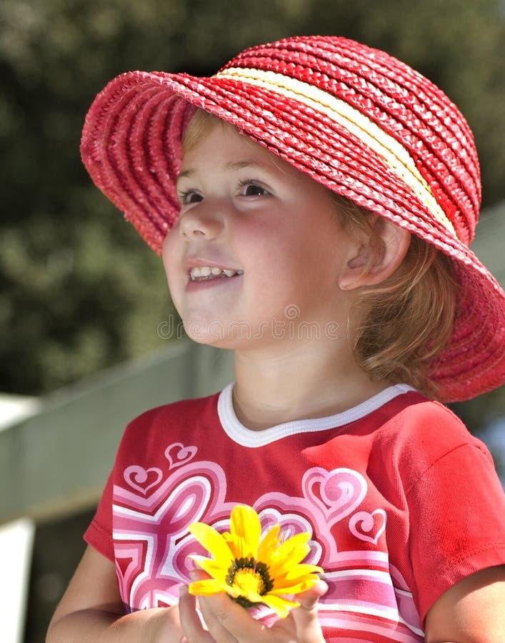 女孩帽子粉红色年轻人 图库摄影