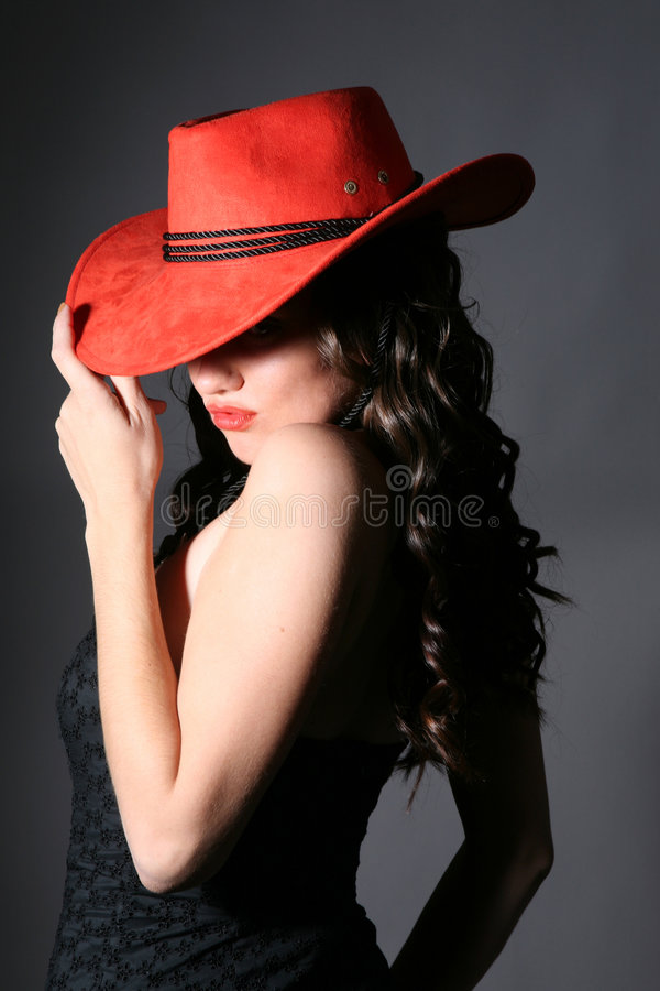 女孩帽子红色 库存图片