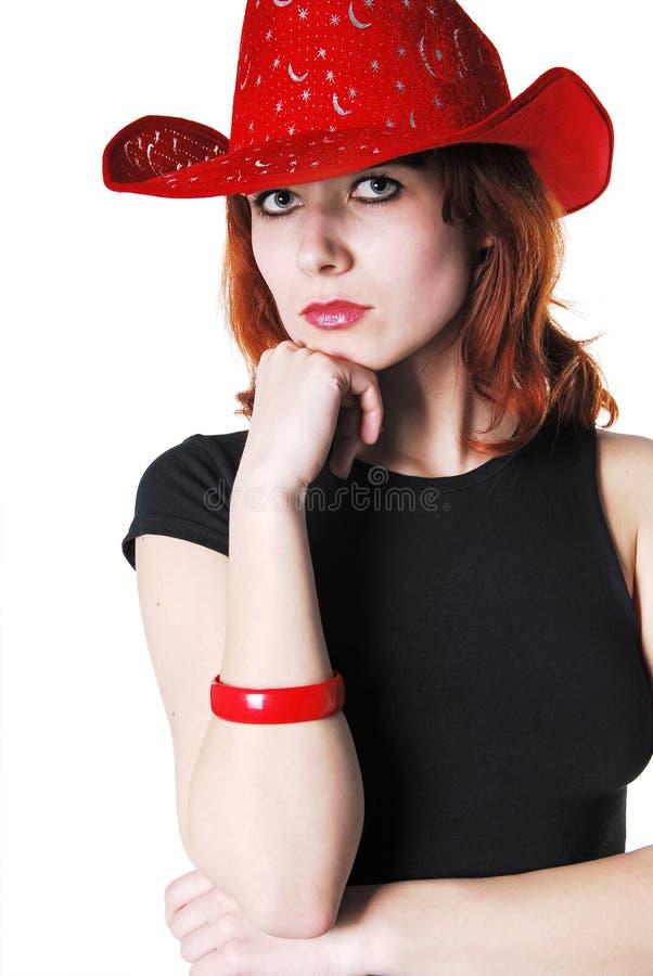 女孩帽子纵向 免版税库存照片