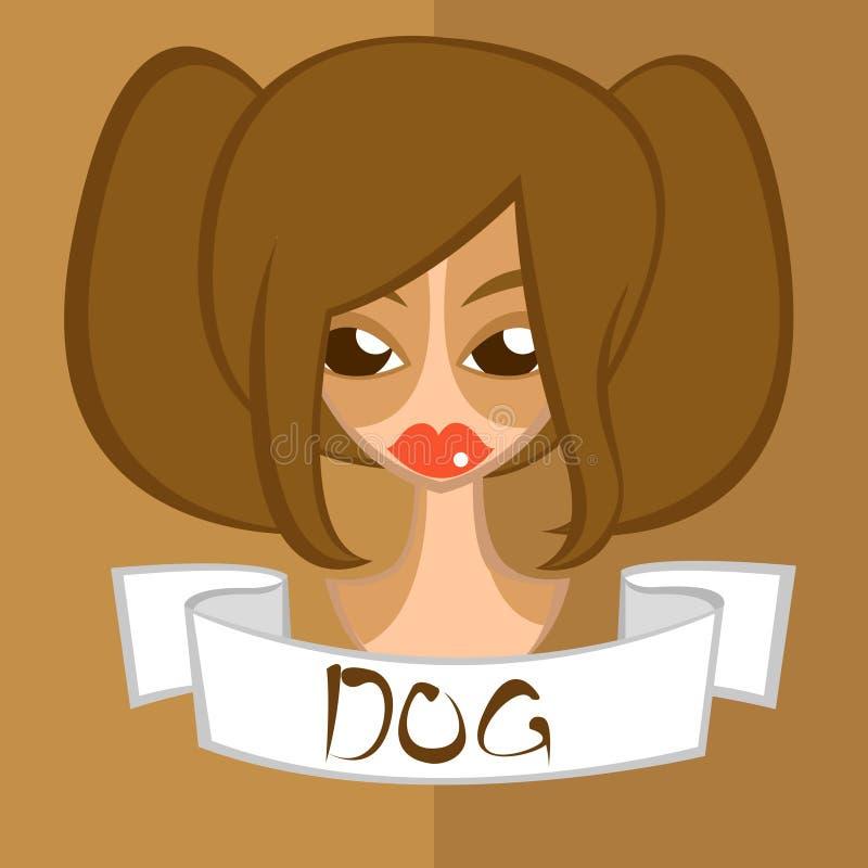 女孩平的样式,中国黄道带,狗 免版税库存照片