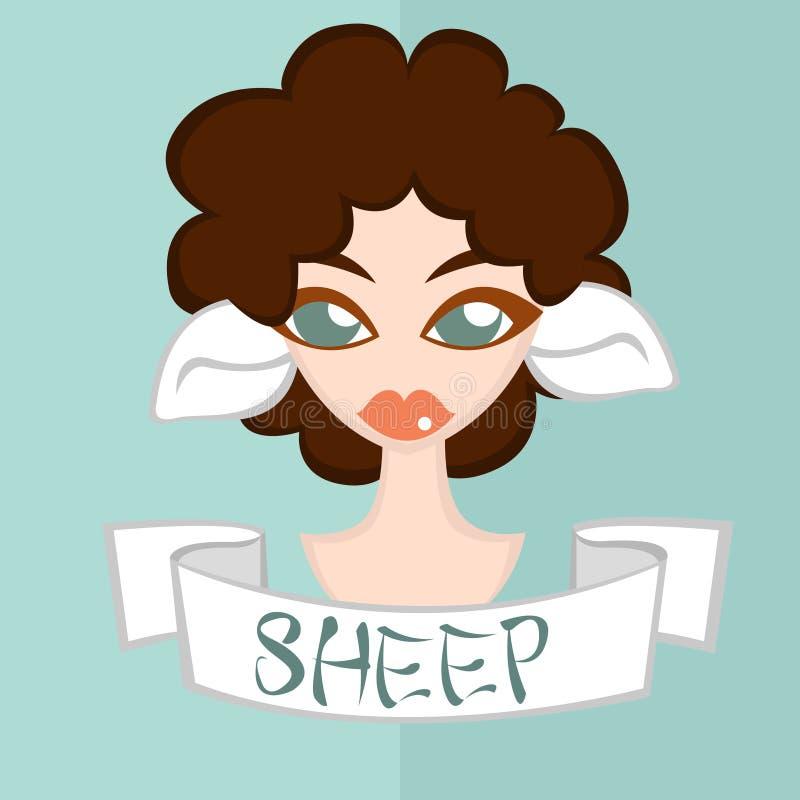 女孩平的样式,中国黄道带,绵羊 免版税库存照片