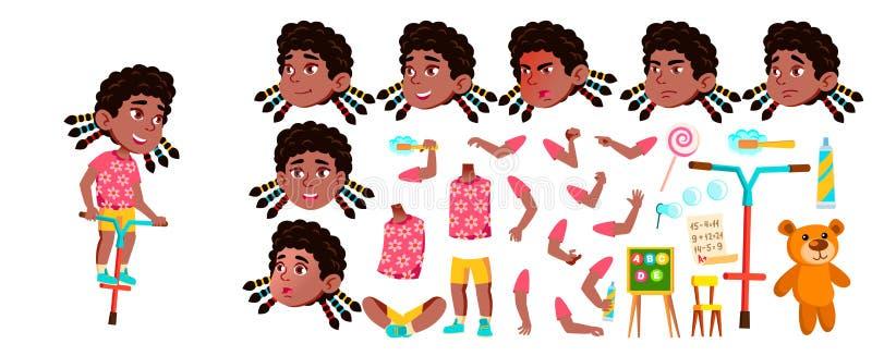 女孩幼儿园孩子传染媒介 投反对票 美国黑人 动画创作集合 面孔情感,姿态 激活,喜悦 皇族释放例证
