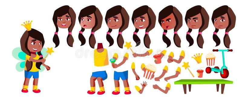 女孩幼儿园孩子传染媒介 投反对票 美国黑人 动画创作集合 面孔情感,姿态 相当正面 向量例证