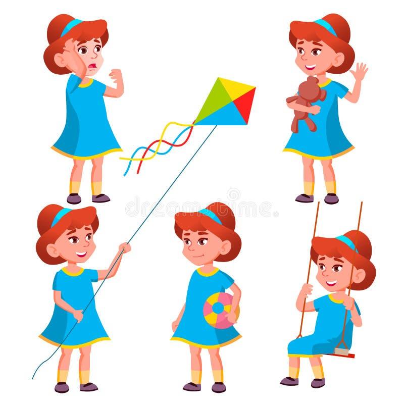 女孩幼儿园孩子姿势被设置的传染媒介 字符使用 幼稚 偶然穿衣 对介绍,印刷品,邀请 向量例证