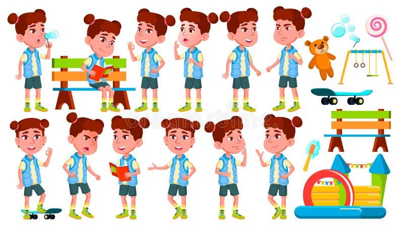 女孩幼儿园孩子姿势被设置的传染媒介 愉快的儿童字符 学士学位 对广告,问候,公告 皇族释放例证