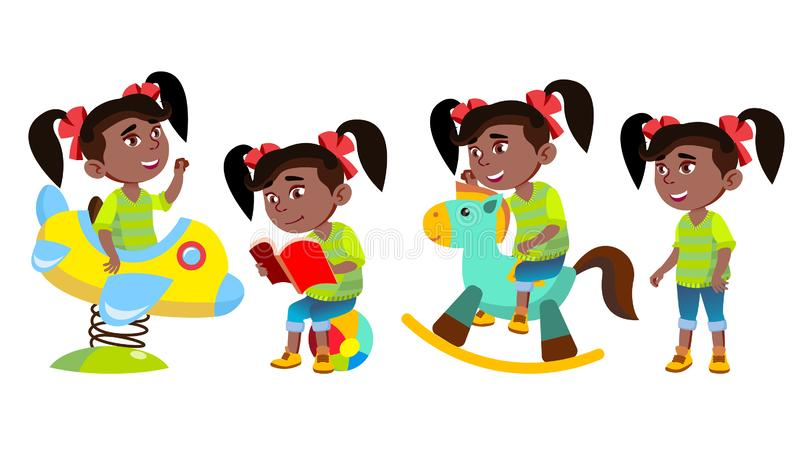 女孩幼儿园孩子姿势被设置的传染媒介 投反对票 美国黑人 小孩儿 滑稽的玩具 获得在操场的乐趣 为 皇族释放例证