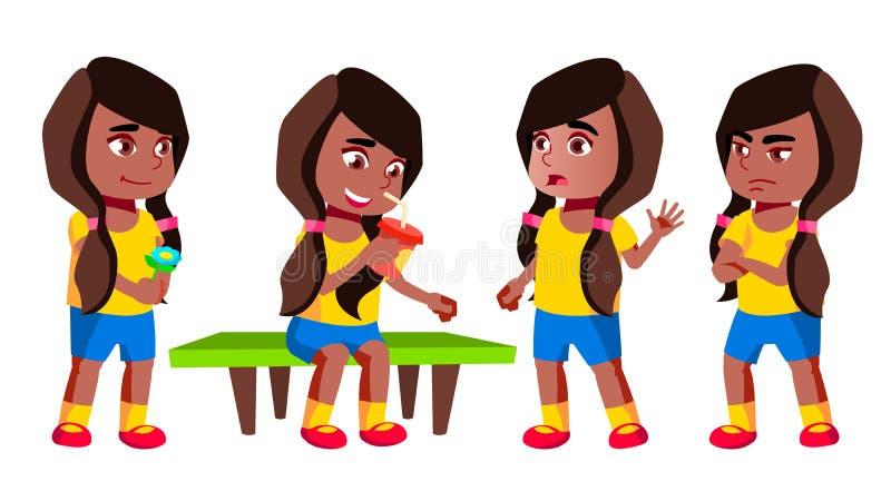 女孩幼儿园孩子姿势被设置的传染媒介 投反对票 美国黑人 幼儿园,童年 微笑 玩具 对网,海报 库存例证