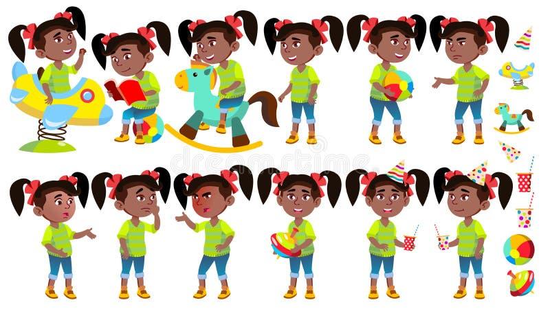 女孩幼儿园孩子姿势被设置的传染媒介 投反对票 美国黑人 情感字符使用 获得在操场的乐趣 为 皇族释放例证