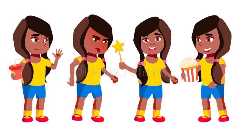 女孩幼儿园孩子姿势被设置的传染媒介 投反对票 美国黑人 相当正面婴孩 休闲 对明信片,公告 库存例证