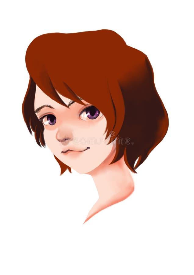 女孩微笑画Manga的数字式绘画 库存照片