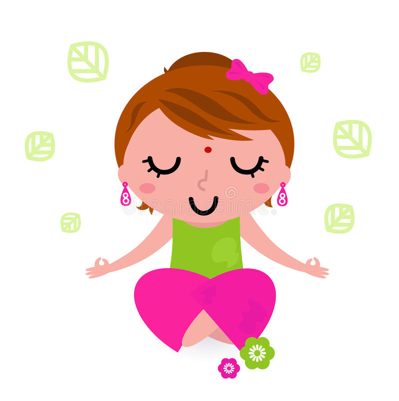 女孩思考的实践的瑜伽 向量例证
