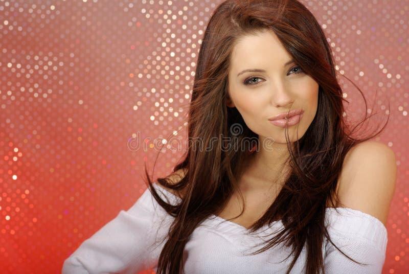 女孩性感魅力的纵向 免版税库存照片