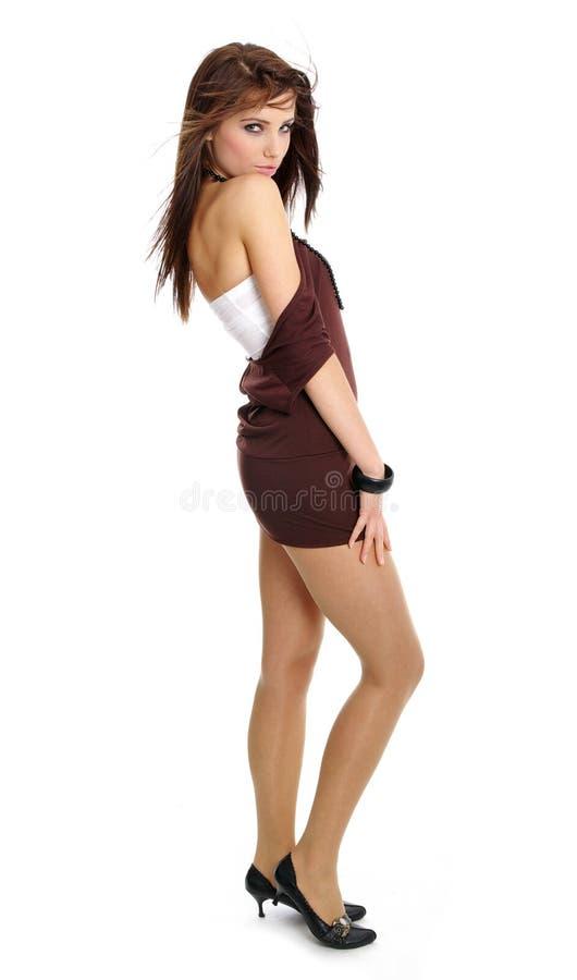 女孩性感魅力的纵向 库存图片