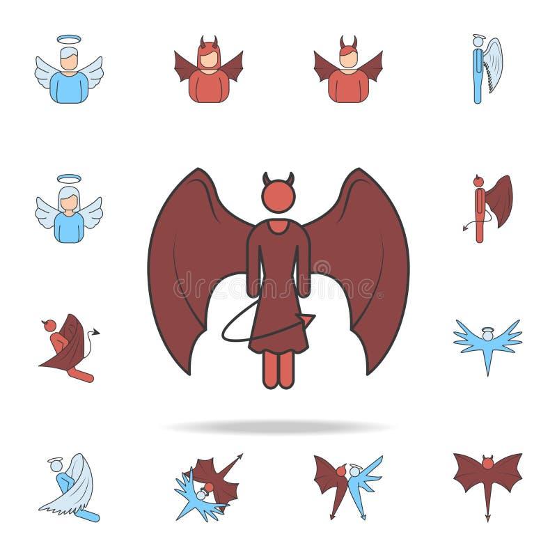 女孩恶魔彩色场概述象 详细的套天使和邪魔象 优质图形设计 其中一个汇集象 库存例证