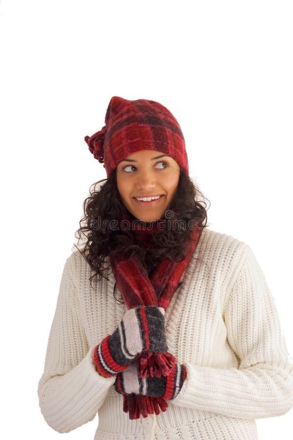 女孩愉快的冬天 库存照片