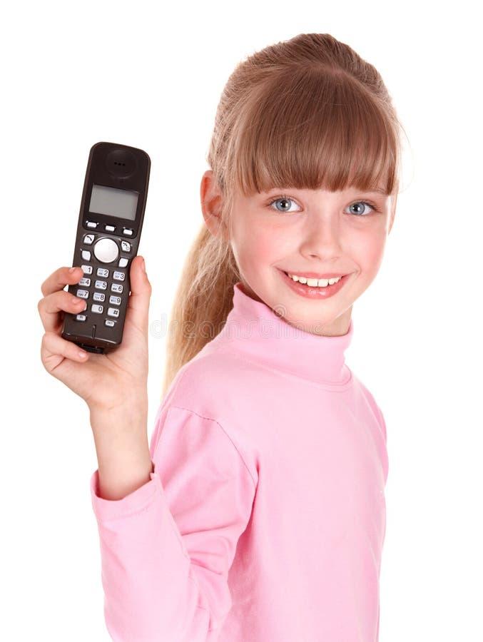 女孩愉快的移动电话 免版税库存图片