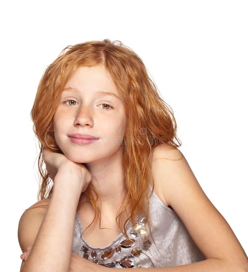 女孩愉快的红头发人白色 免版税图库摄影