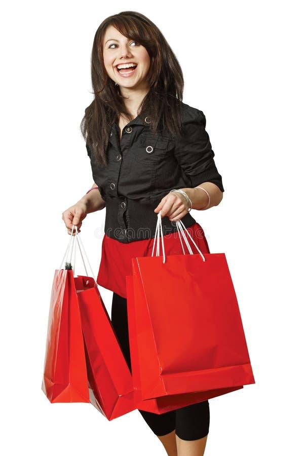 女孩愉快的购物非常 库存图片