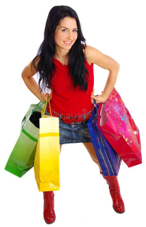 女孩愉快的购物 图库摄影