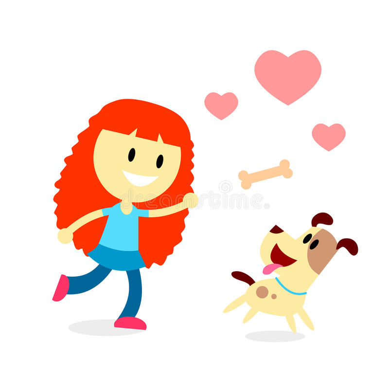 女孩戏剧抓住有她的狗的骨头 库存例证