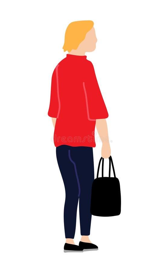 女孩或妇女穿戴了在便装样式走和perfo的红色外套 皇族释放例证