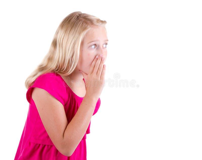 女孩或少年耳语 图库摄影