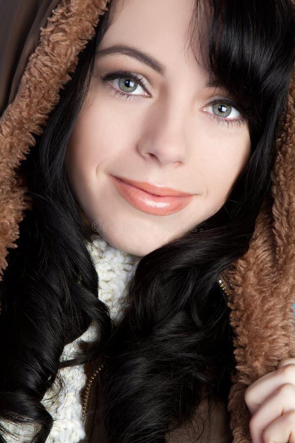 女孩戴头巾冬天 库存照片