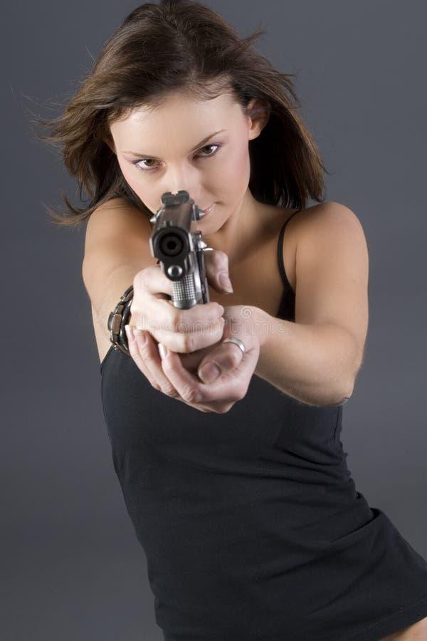 女孩手枪 库存照片