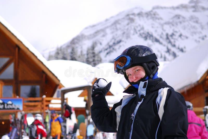 女孩手段滑雪 免版税库存照片