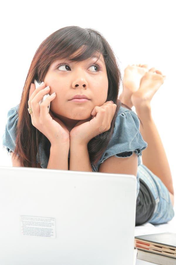 女孩技术 免版税图库摄影
