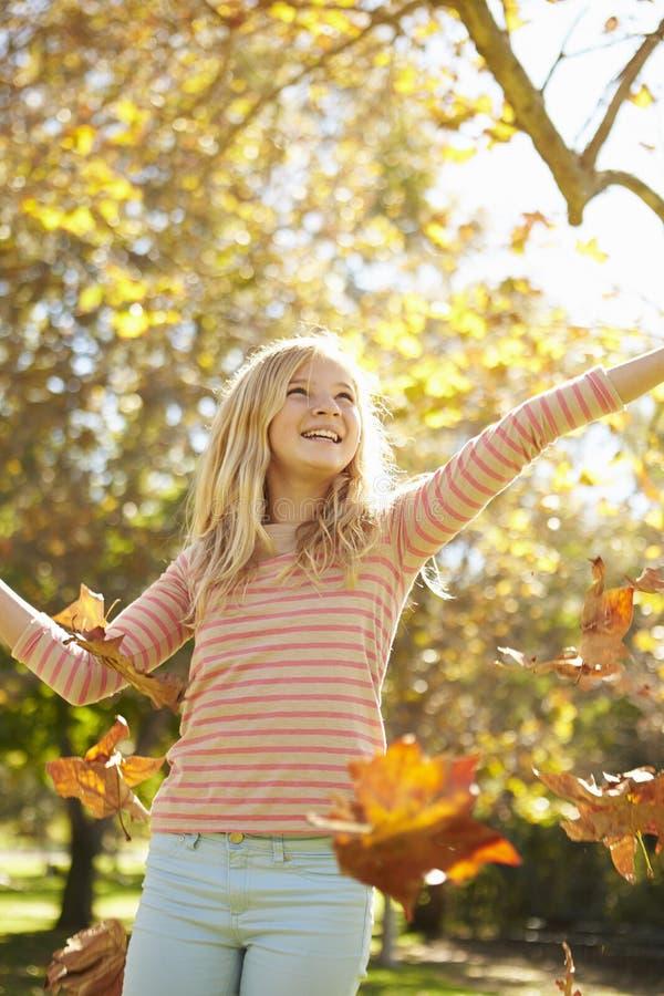 女孩投掷的秋叶在天空中 库存图片