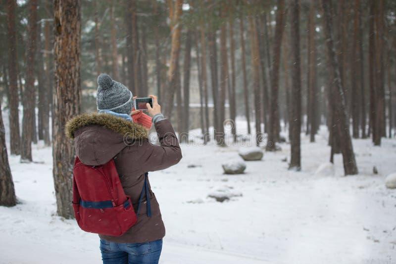 女孩拍照片 库存图片