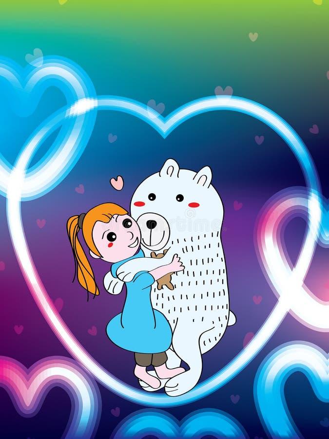 女孩拥抱玩具熊北极熊 向量例证