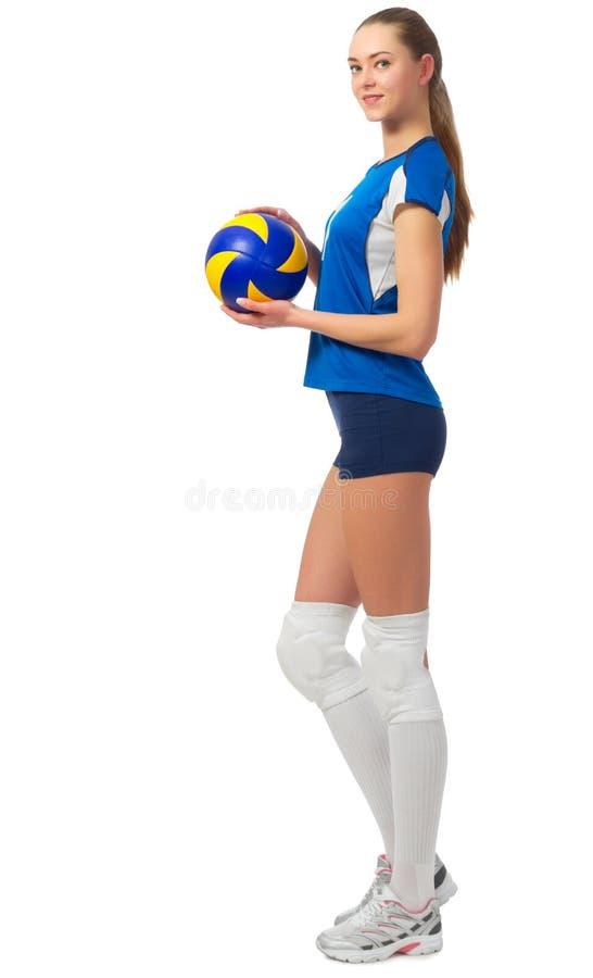 女孩排球运动员 免版税图库摄影