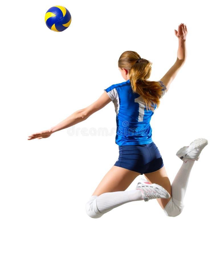 女孩排球运动员 图库摄影