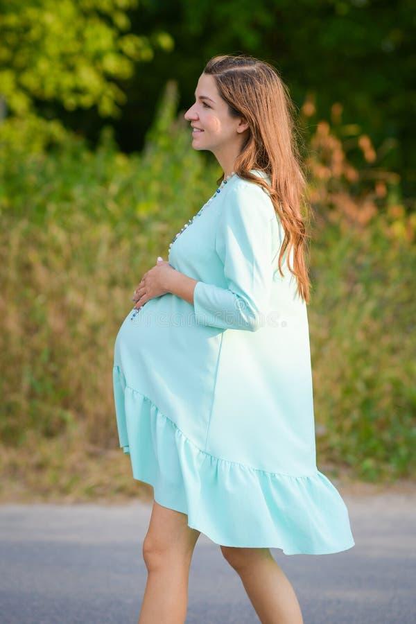 女孩握怀孕的腹部 反对自然,温暖的天气背景的孕妇  免版税库存照片