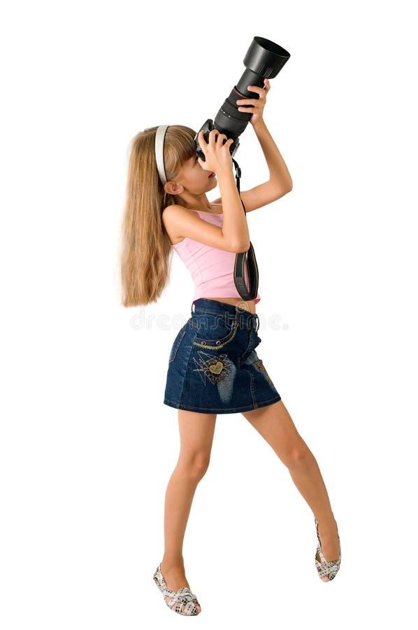 女孩摄影师 免版税图库摄影