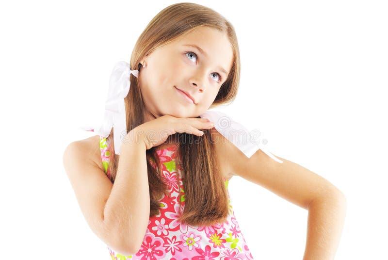 女孩摆在的一点 免版税库存照片