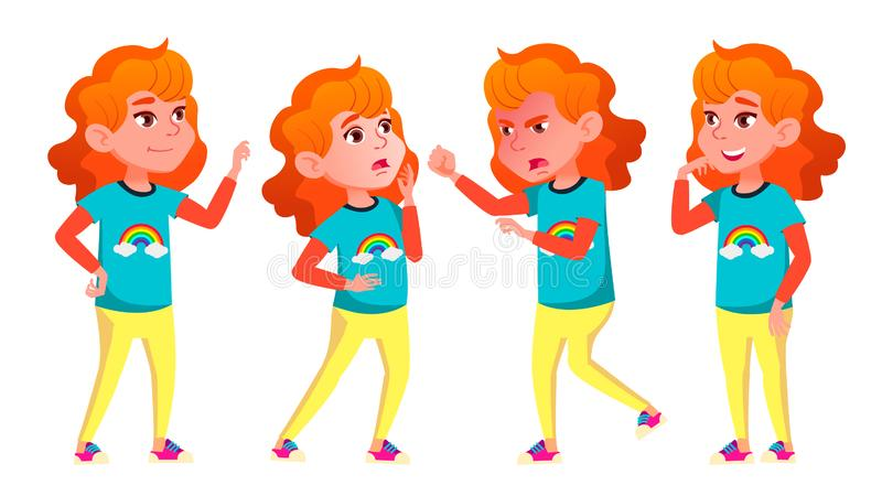 女孩摆在集合传染媒介 高中孩子 学童,青少年 对网,海报,小册子设计 被隔绝的动画片 向量例证