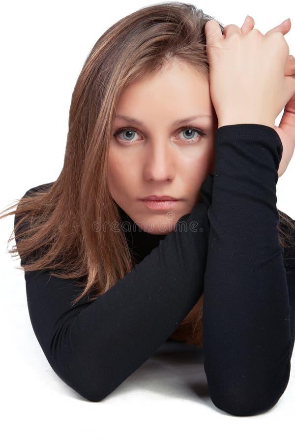 女孩摆在 免版税库存照片