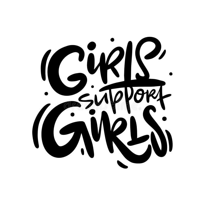 女孩支持女孩 与手拉的传染媒介字法的女权主义口号 向量例证