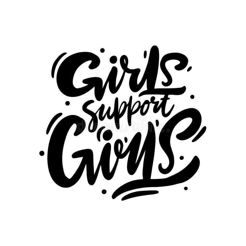 女孩支持女孩 与手拉的传染媒介字法的女权主义口号 皇族释放例证