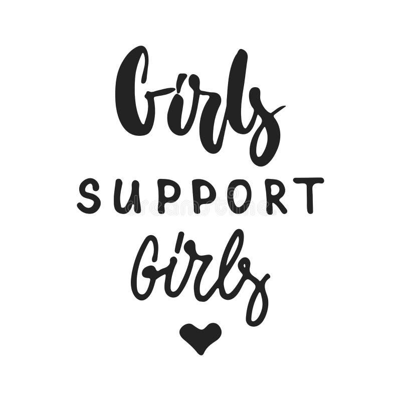 女孩支持女孩-在黑背景隔绝的手拉的女权主义字法词组 乐趣刷子墨水传染媒介 向量例证